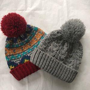 Two Next Direct (UK) Kids Bobble Hats.